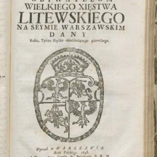 Trybunał obywatelom Wielkiego Xięstwa Litewskiego na seymie Warszawskim dany roku tyśiąc pięćset ośmdźieśiątego pierwszego<br />